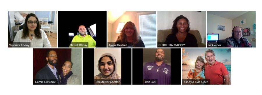 A zoom call with nine people in a variety of places.